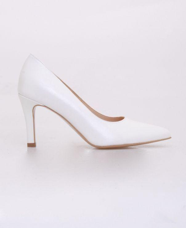 Białe czółenka na szpilce 5978-biały z połyskiem-239