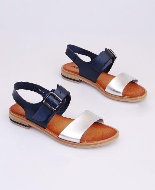 Granatowo-srebrne sandały 8606-801723
