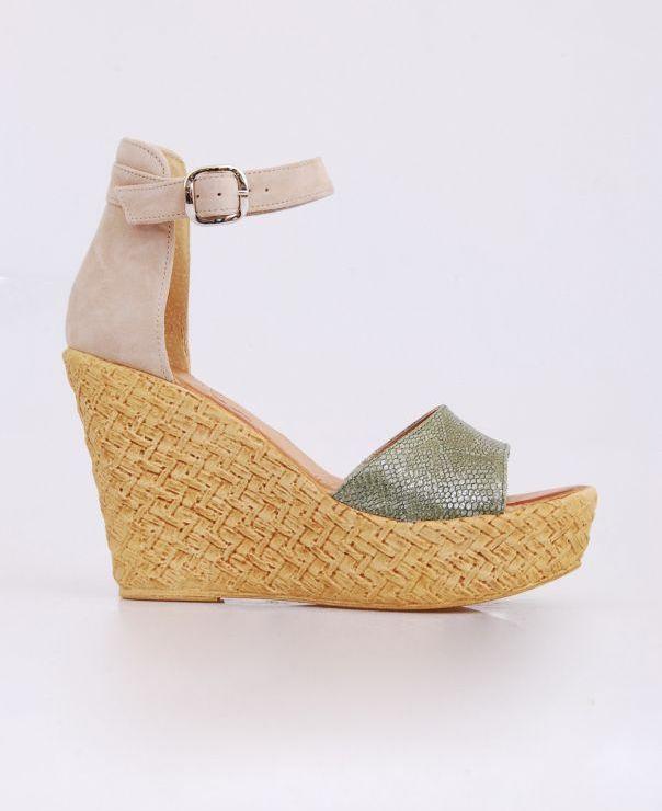Sandały na koturnie Sandały na koturnie zielono - beżowe