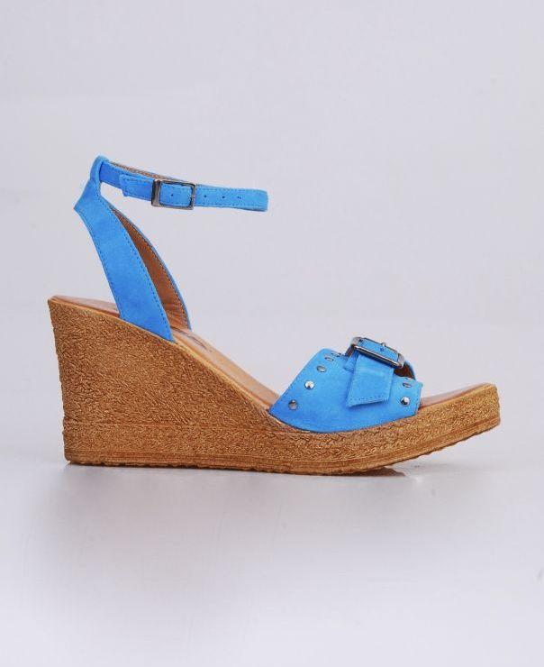 Sandały na koturnie 8677-467-niebieski