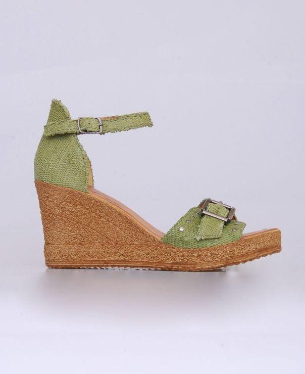 Sandały na koturnie 8751-zielony