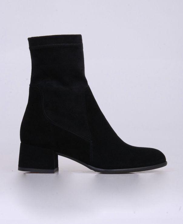 Czarne botki ze stretchu 3545-012/stretch