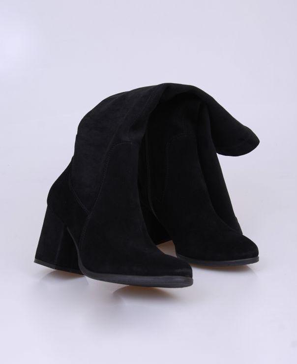 Czarne kozaki ze stretchu 1617-012-stretch