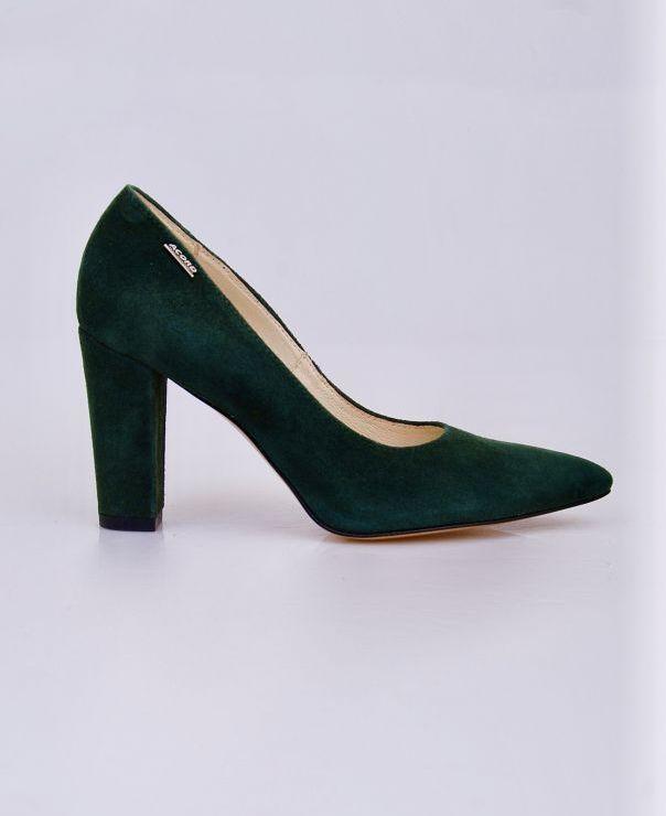 Zielone czółenka na słupku  6034-ziel
