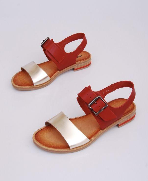 Czerwono-złote sandały 8606-800-727