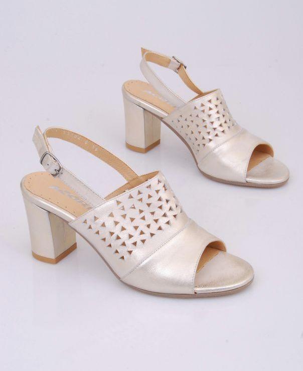 Sandały na słupku 8704-srebrno-złote