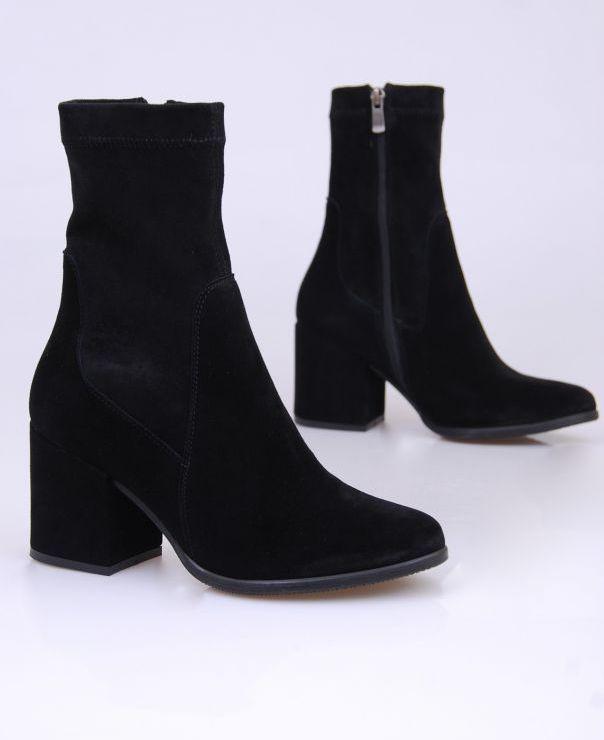 Czarne botki ze stretchu 3536-012/stretch