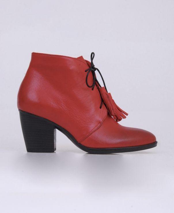 Czerwone botki z frędzelkami 3501-502