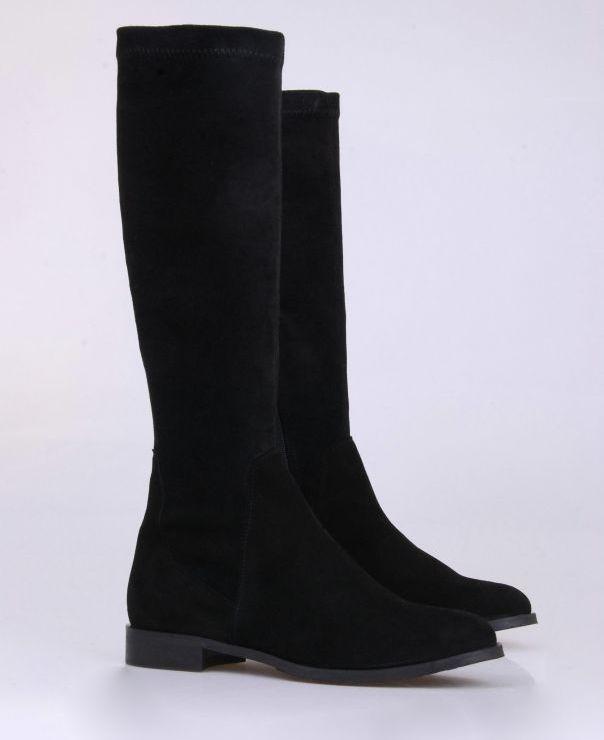 Czarne kozaki ze stretchu 1623-012-sretch